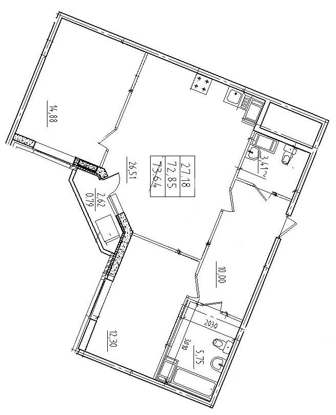 Планировка Трёхкомнатная квартира (Евро) площадью 73.64 кв.м в ЖК «Ласточка»